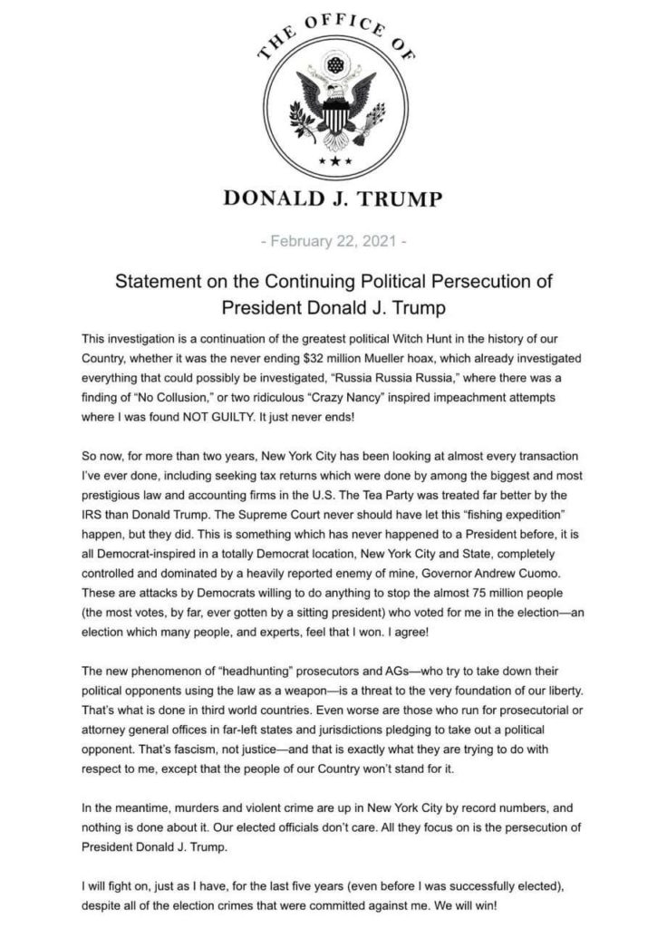 Trump statement on supreme court tax returns