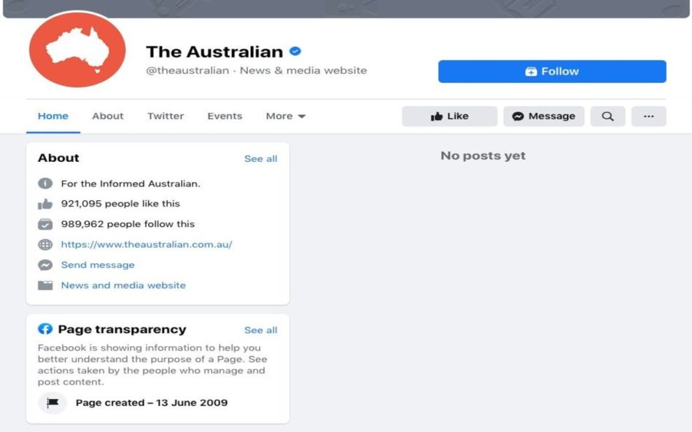 Facebook block Australian users