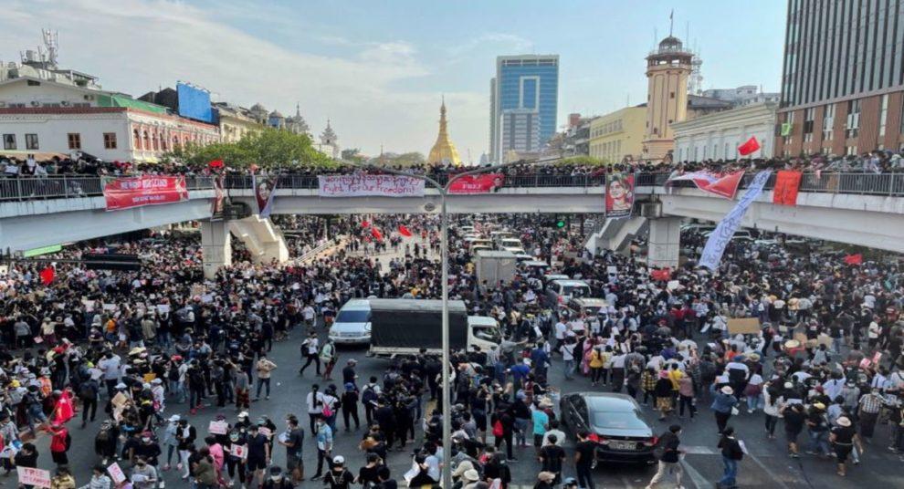 Martial law Yangon Mandalay