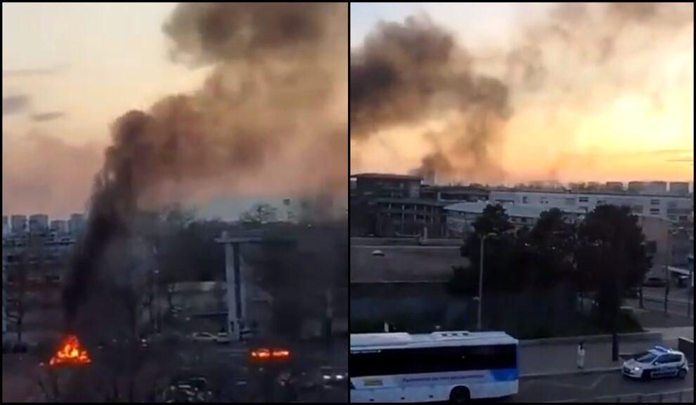 cars fire Lyon France