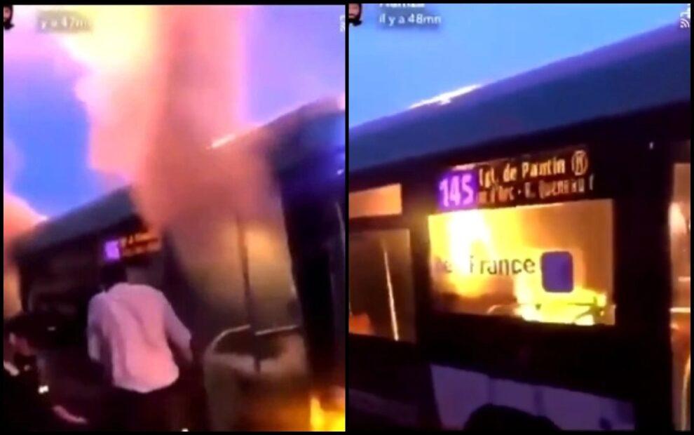 Man Fire Woman Paris Bus Noisy-le-Sec Video