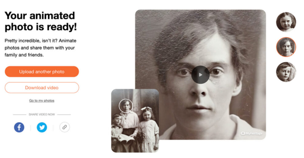 MyHeritage app download link make pictures move smile