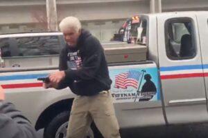 Trump supporter gun Antifa protesters Oregon Video