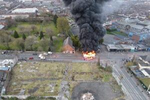 Belfast riots bus hijacked fire