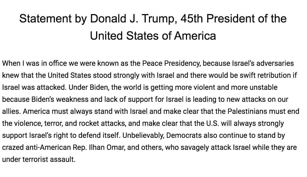 Trump statement on Israel Palestine war