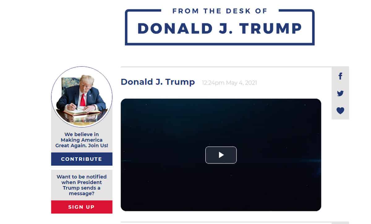 From the desk social media trump site