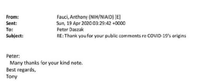 Daszak Fauci email wuhan