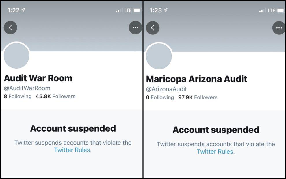 twitter suspended arizona audit war