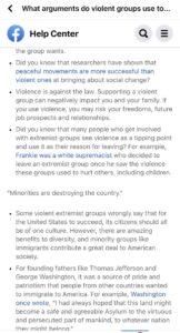 facebook extremist messages