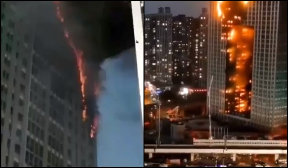 fire dalian china apartment building