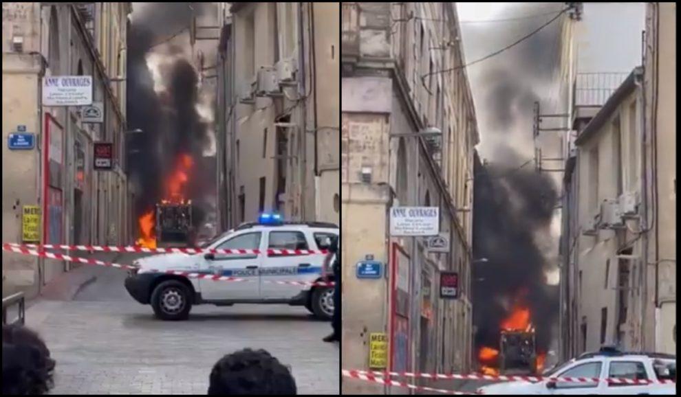 truck fire Montpellier