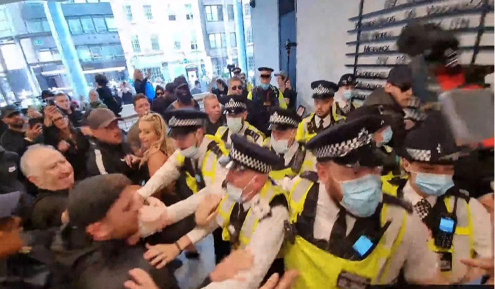 london itv office protesters protest