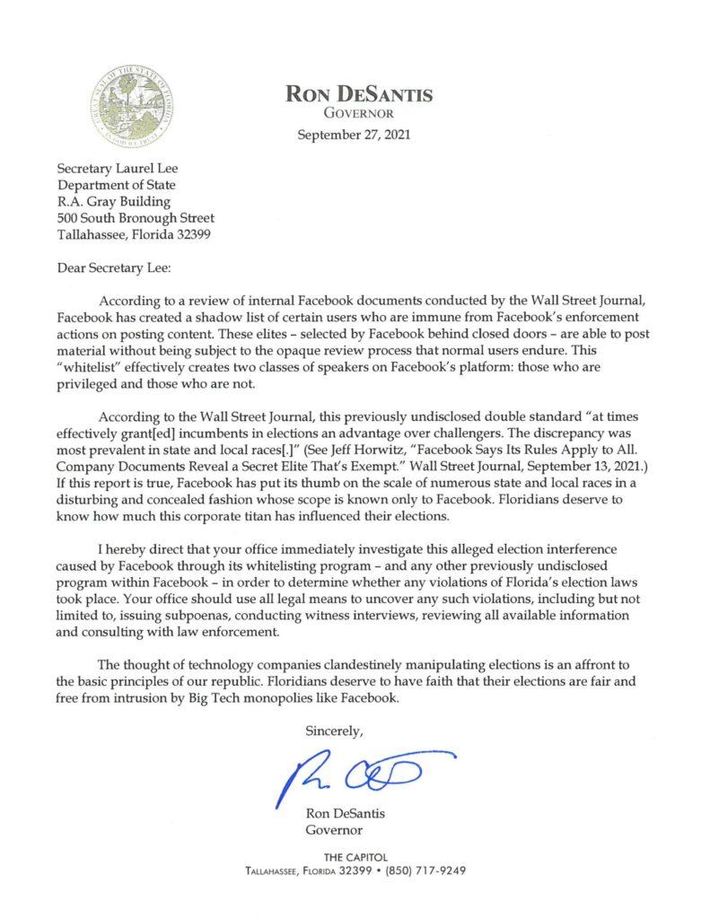 Ron Desantis letter facebook elections law