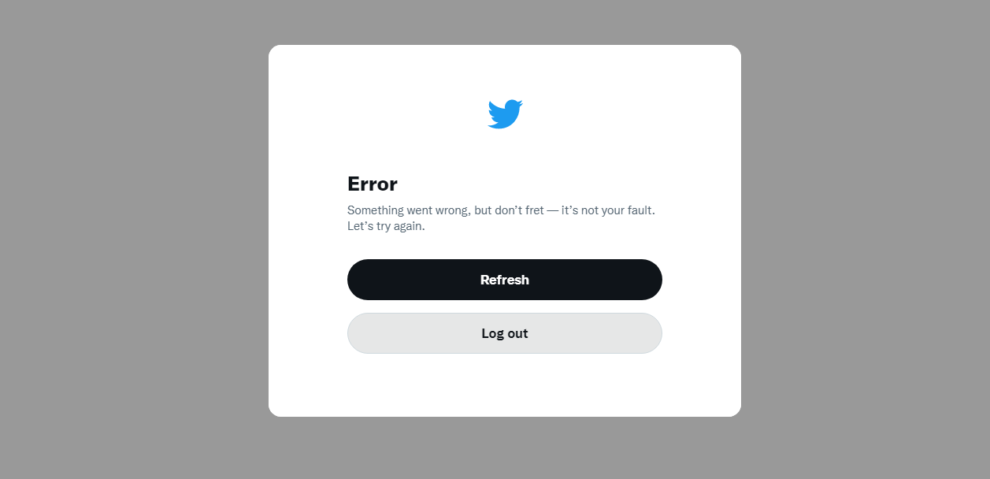twitter down Something went wrong