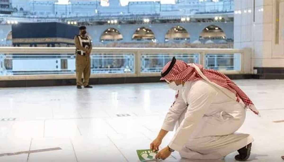 social distancing stickers masjid al haram mecca