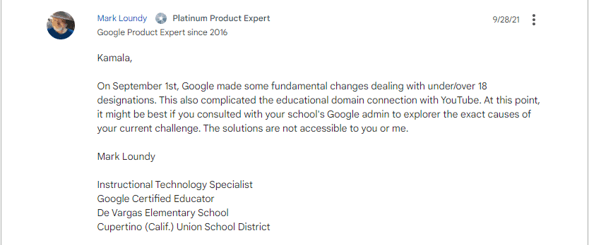 google response to classroom slides issue